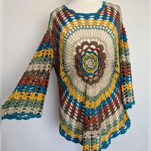 Long sleeve crochet festival boho top L/XL